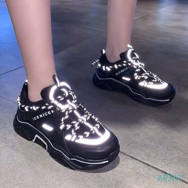 giày thể thao phản quang full đen