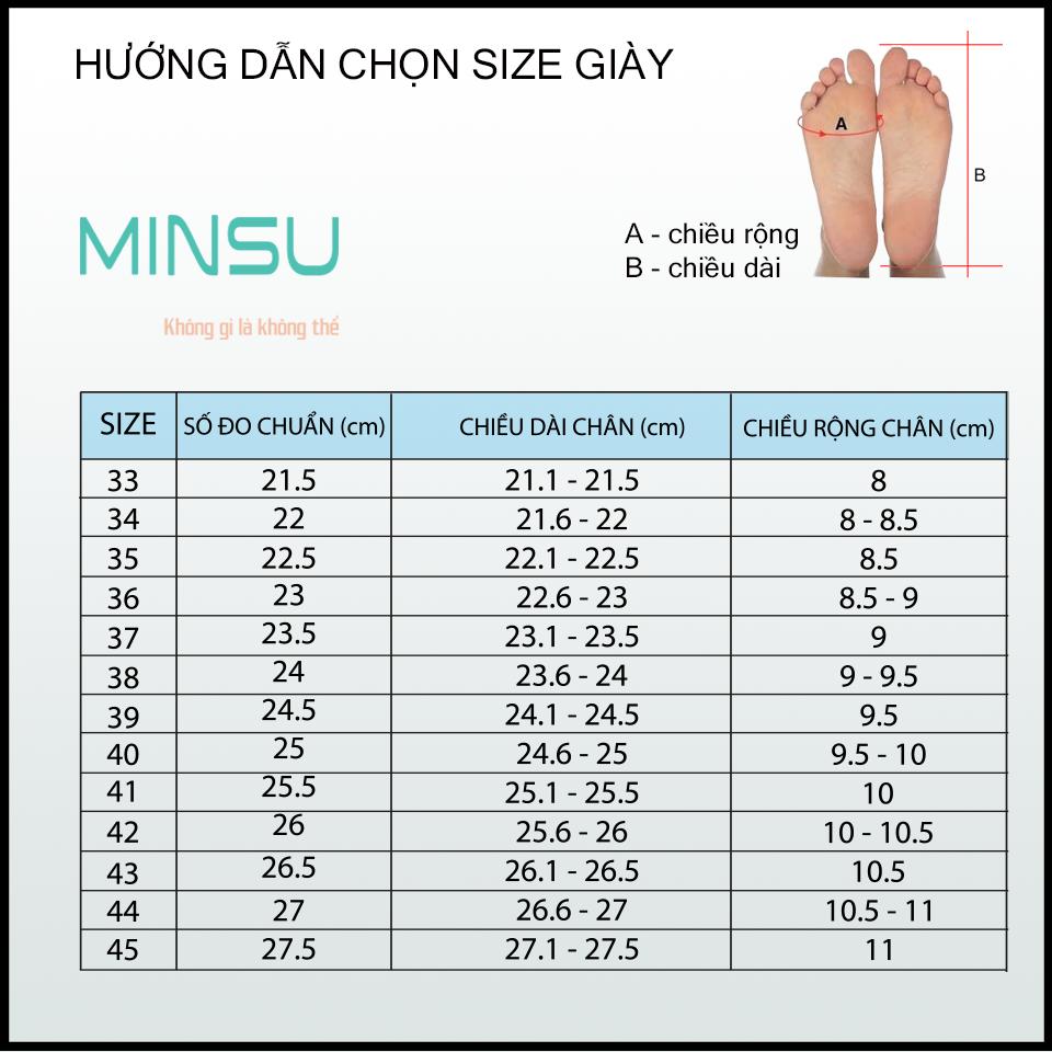 Bẳng hướng dẫn lựa size giày theo kích thước bàn chân.